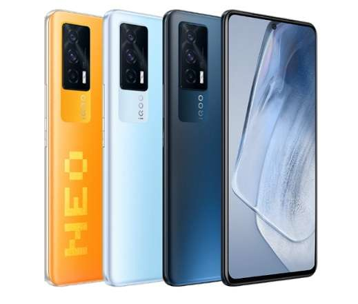 iQOO Neo 5 in Night Shadow Black, Cloud Shadow Blue and Pixel Orange