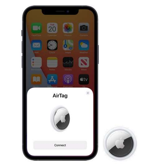 Apple AirTag connects with iPhone, iPad, or iPod touch