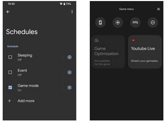 Game mode and live recording in Android 12 Beta
