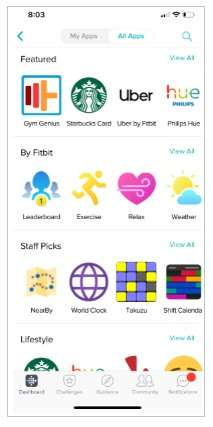 apps in the Fitbit app store