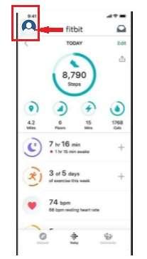 profile option in Fitbit