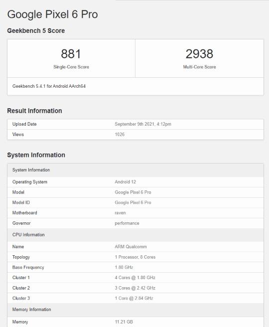 Google Pixel 6 Pro on Geekbench